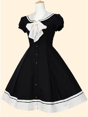 Black Navy Collar princess Bowknot short-sleeved dress