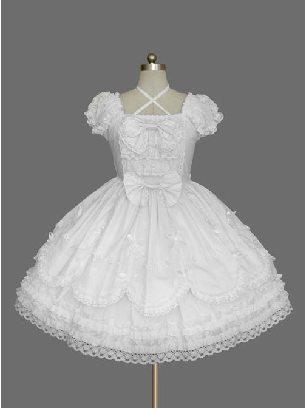 White Retro Gothic Bowknot Lace Sleeve Short Sleeves Dress