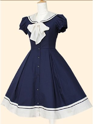 Blue Navy Collar princess Bowknot short-sleeved dress