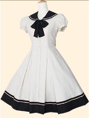 White Navy Collar princess Bowknot short-sleeved dress