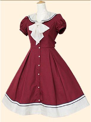 Wine Red Navy Collar princess Bowknot short-sleeved dress