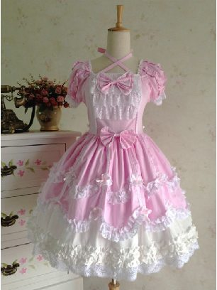 Pink Retro Gothic Bowknot Lace Sleeve Short Sleeves Dress