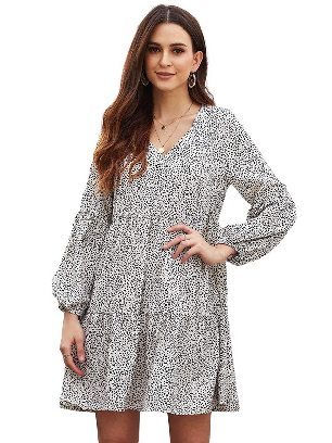 White Stitching Leopard Print Ruffle V-Neck Flowy Loose Tunic Dress