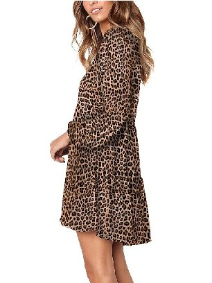 Leopard print Stitching Leopard Print Ruffle V-Neck Flowy Loose Tunic Dress