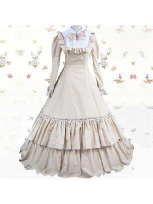 Gothic Victoria waist one-piece long dress court cotton Classic Lolita Dresses