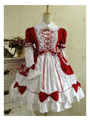 Gothic Princess Red White retro lace puffy Cotton Lolita Dress