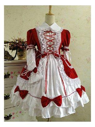 Supply Gothic Princess Red White retro lace puffy Cotton Lolita Dress