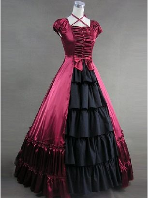 Hanging Neck Gothic one-piece Prom Bowknot lolita Prom Dress