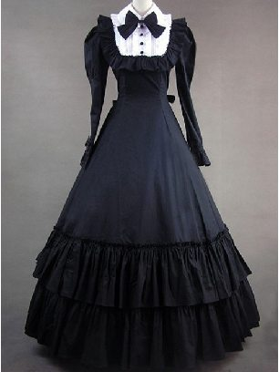 Vintage lolita gothic dress Victorian Prom Long Sleeve Dress