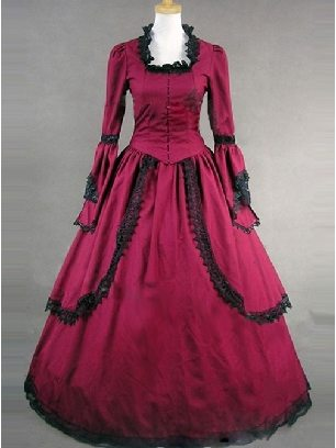 gothic flared sleeve cotton court Lace Edge Lolita Dress
