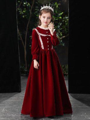burgundy color Denier Velvet Princess Dress Girls Lolita Dress