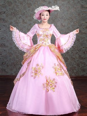 Royal court costume embroidered Trumpet Sleeve Pink Prom Dress