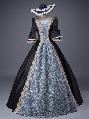 Black court costume retro Floral short Sleeves Trim Lace Up Lolita Prom Dress