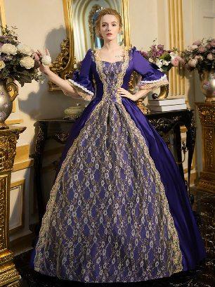 Purple court costume retro Floral short Sleeves Trim Lace Up Lolita Prom Dress