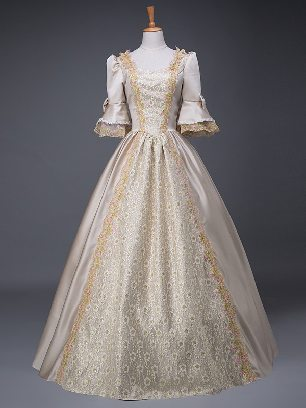 Grey gold court costume retro Floral short Sleeves Trim Lace Up Lolita Prom Dress