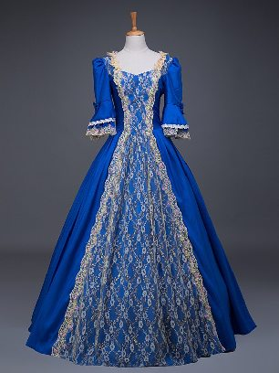 Royal blue court costume retro Floral short Sleeves Trim Lace Up Lolita Prom Dress
