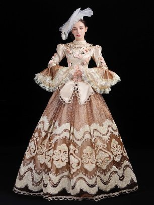 Gorgeous retro embroidered lace royal High Collar Trumpet Sleeve Lace hem palace Prom Long Dress