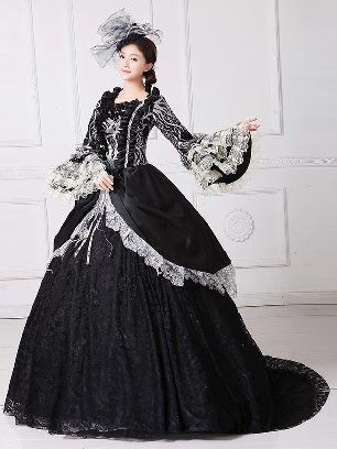 Classical Trailing palace embroidered Lace hem Trumpet Sleeve Prom Long Dress