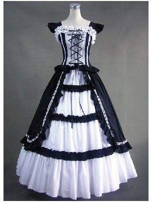 Victoria Gothic Retro Cuff Sleeves Ruffled White Black Princess Lolita Prom Dress
