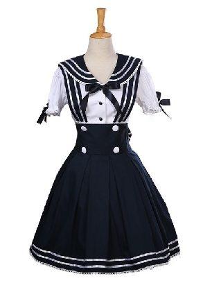 Supply Angel's Feather Navy Style Short Sleeve School Lolita Dress Set