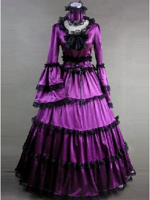 Purple Matte Satin Victorian lace gothic Lolita Prom Dress