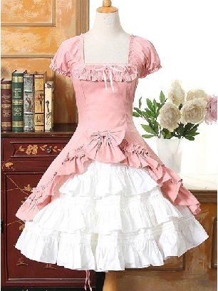 Lolita gothic Short Sleeves Ruffle Bowknot two-piece Set cotton Classic Lolita Dress