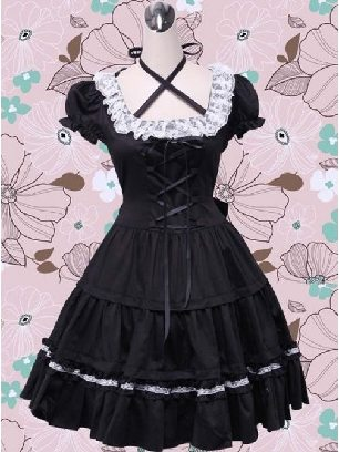 Gothic Puff Short Sleeves one-piece Classic Lolita Dress