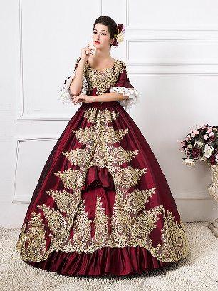 Burgundy fall winter dance evening dress embroidered Pleated hem palace Prom Dress