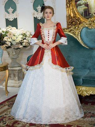 White Christmas white lace royal retro queen princess Lolita Prom Dress