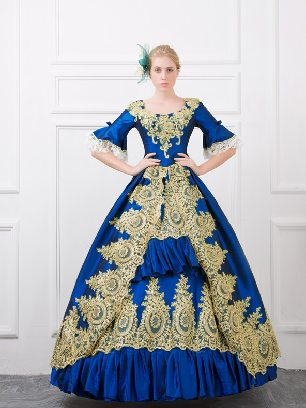 Blue fall winter dance evening dress embroidered Pleated hem palace Prom Dress