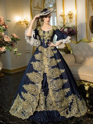 Navy fall winter dance evening dress embroidered Pleated hem palace Prom Dress