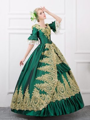 Green fall winter dance evening dress embroidered Pleated hem palace Prom Dress