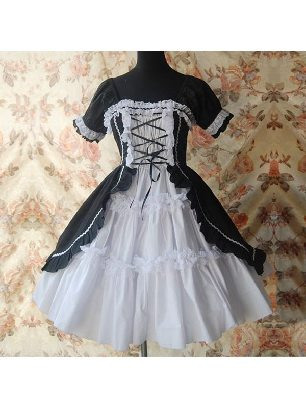 Lolita Gothic strappy two-piece cotton Sweet Lolita Dress with panties