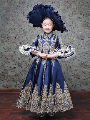 Children court retro princess dress trumpet sleeves embroidered palace Prom Dress