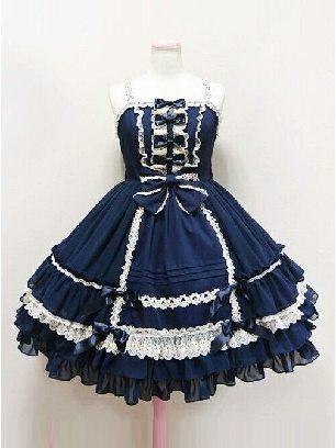 court ball cosplay Bowknot Lace strap Classic Lolita Dress