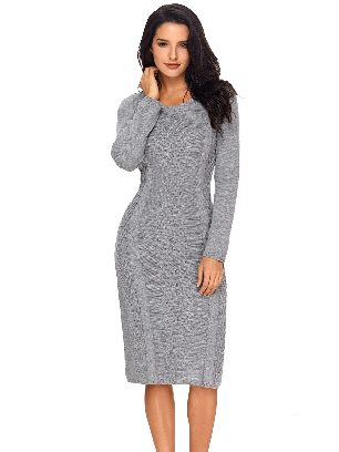 Winter Unique Hand Knitted Long Sleeve Slim Sweater Dress