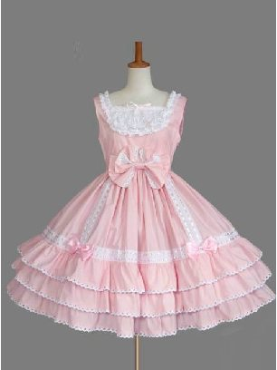 Pink Lace Bowknot Gothic playful princess Sweet Lolita Sling Dress