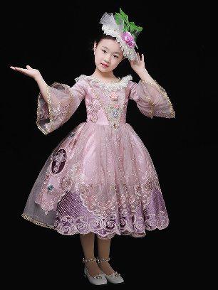 New Style children palace pink birthday party Lace Princess dress