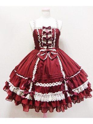 elegant high waist suspender court cute Sweet Lolita Dress