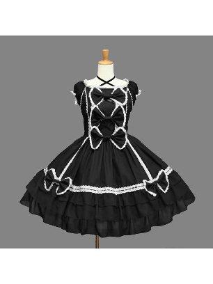 Cotton Gothic Bow ruffled cake one-piece court Lolita Dress