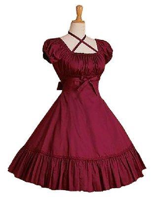 Lolita gothic Cotton Ruffles short-sleeved waist one-piece Bow Classic Lolita Dress
