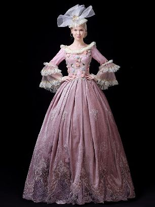 retro Pink palace dress embroidered Lace hem Trumpet Sleeve Prom Long Dress