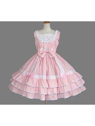 retro lace bow palace princess dress chiffon suspender Sweet Lolita Dress