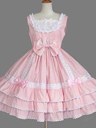 Pink retro lace bow palace princess dress chiffon suspender Sweet Lolita Dress