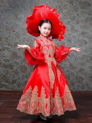 Red Children court retro princess dress trumpet sleeves embroidered palace Prom Dress