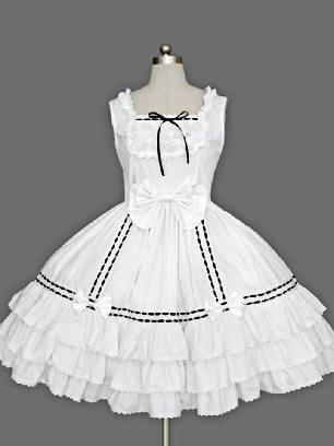 White retro lace bow palace princess dress chiffon suspender Sweet Lolita Dress