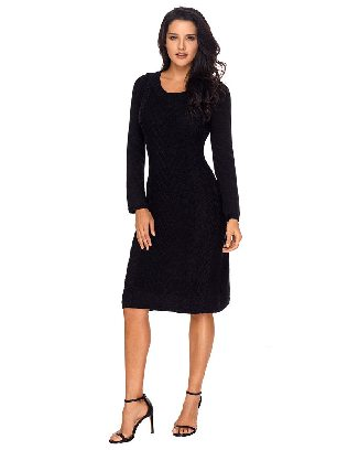 Black Winter Unique Hand Knitted Long Sleeve Slim Sweater Dress