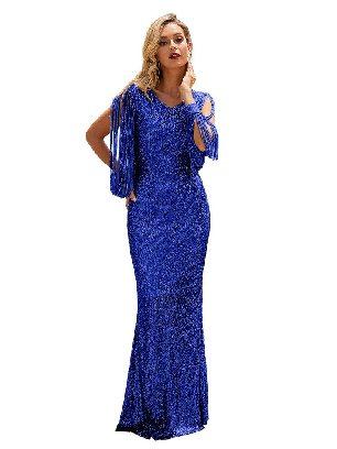 Blue Silver Sequin Fringe Sleeve Tassel Prom Maxi Dress