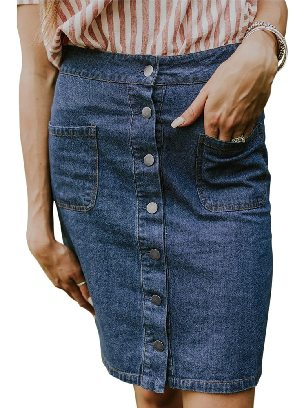 Blue Single Breasted Chic Button Up Denim Skirt
