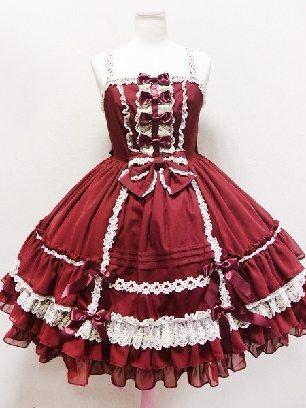 Burgundy elegant high waist suspender court cute Sweet Lolita Dress